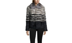 Peri Luxe Feathered Rabbit and Silver Fox Jacket - Gray - Size: Small