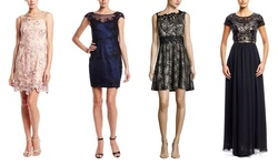 Decode 1.8 Women's Cap Sleeve Lace Embroidery Trim Dress - Navy - Size: 4