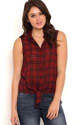 Deb Women's Sleeveless Floral Plaid Print Tank Top - Red - Size: XS