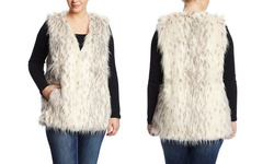Love Token Women's Sleeveless Faux Fur Vest - Ivory - Size: 1X