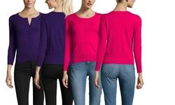 Active La Long Sleeve Cardigan - Hot Pink - Size: Medium