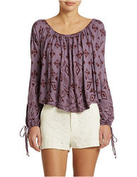 Free People Dazed Print Jersey Top Washed Plum - Size: Medium