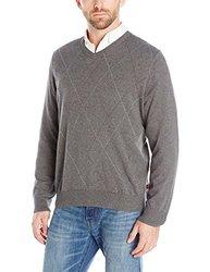 IZOD Men's Fine Gauge Raker V-Neck Sweater - Carbon Heather - Size: Large