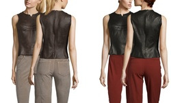 Byron Lars Faux Leather Sleeveless Top - Espresso - Size: 6