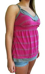 Liberty Love Junior's Stripe Adjustable Tank Top - Fucshia - Size: Medium
