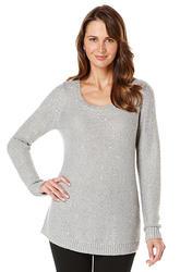 Rafaella Sequin Pullover Top - Silver - Size: 46