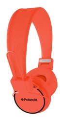Polaroid PHP8400OR 3.5mm Noise Isolating Foldable Studio Headphones, Powerful Bass Jumbo padding Organic Fabric Cord, Orange