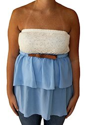 Almost Famous Junior's Strapless Tiered Belted Halter - White/Blue - Size: L