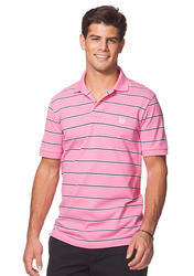 Chaps Men's Striped Pique Polo T-Shirt - Chroma Pink - Size: Small