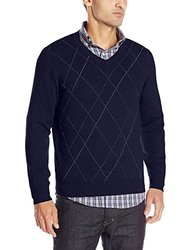 IZOD Men's Fine Gauge Raker V-Neck Sweater - Midnight - Size: 2XL