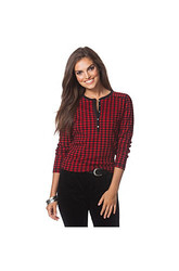 Chaps Women's Checked Lodge Henley T-Shirt - Green/Black - Size: Small