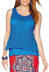 Valerie Stevens Women's Sleeveless Layered Hi Lo Top - Blue - Size: M