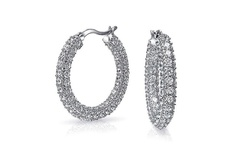 Swarovski Elemenets Studded Crystal Earrings - 18K White Gold Plated