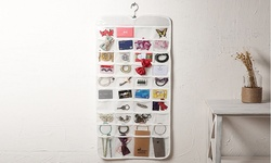 Double Sided Hanging Jewelry Organizer: 72 Pocket