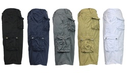 Galaxy By Harvic Men's Garment Dyed Fancy Cargo Shorts - Khaki - Size: 36