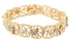 Sevil Women's 18K Gold Plated Gemstone w/ Diamond Accent Tennis Bracelet
