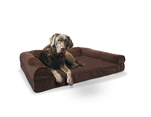 Furhaven Plush Suede Sofa Style Orthopedic Bolster Pet Bed Brown