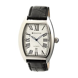 Heritor Men's Watch: HR2201/Black Band-White/Silver Dial