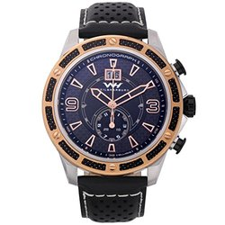 Mens Swiss Chronograph Watch: Wh-15043-e Black-beige Band-black-rose Dial