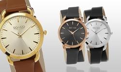 So & Co New York Women's Double-Wrap Watch- Black/Silver (GP15564)