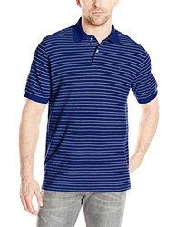 IZOD Men's Coastal Prep Striped Pique Polo - Mazarine Blue - Size: 2XL
