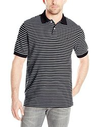 IZOD Men's Coastal Prep Striped Pique Polo - Black - Size: Small