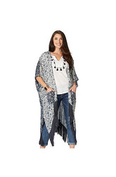 Democracy Women's Floral Print Kimono Sweater - Navy - Size: Medium