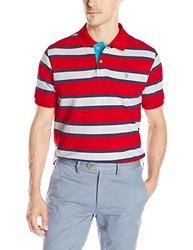 U.S. Polo Men's Balanced Stripe Pique Polo Shirt - Engine Red - Size: XL