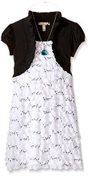 Speechless Girl's Ruffle Dress with Necklace - Black/White - Size: 7