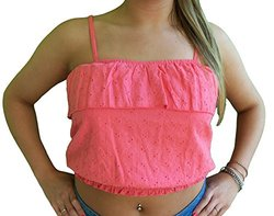 Almost Famous Junior's Eyelet Peasant Crop Halter Top - Coral - Size: XL