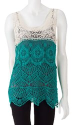 Isela Juniors Crochet Knit Color Block Two-Tone Tank Top - Natural/Blue -  Size: Small
