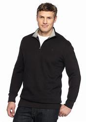 Izod Big & Tall Quarter-Zip Fleece Pullover - Black - Size: XXL