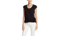 Pink Tartan Layered Short Sleeve Ruffle Tee - Black - Size: One
