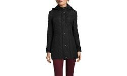 Weatherproof Nylon Hooded Quilted Walker Jacket - Black - Size: One