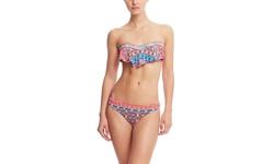Red Carter Moroccan Tile Cali Cut Hipster Bikini bottom - Multi