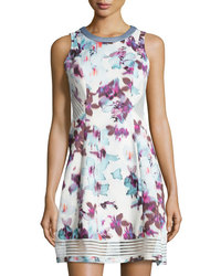 Catherine Malandrino Sleeveless A-line Dress - Watercolor - Size: Small