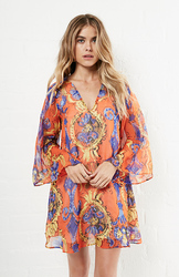 Lavender Brown Silk Long Sleeve V Neck Tunic Dress - Multi - Size: L