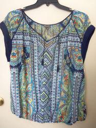 Hannah Women's Multicolor Paisley Print Tassel Front Top - Blue - PlusSize
