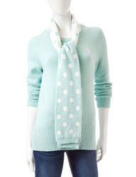 Women's 2-Pc Solid Color Ribbed Trim Knit Sweater & Scarf - Light Aqua - S