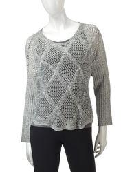 Hannah Women's Marled Diamond Knit Sweater - Ivory/Grey - Size: Medium