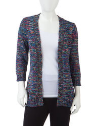 NY Collection Women's Petites Marled Knit Cardigan - Blue - Size: P/S