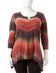 Zac & Rachel Women's Rust Colored Ombre Knit Top - Brown Multi - Size: 2X