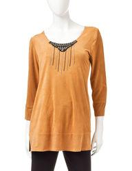 Valerie Stevens Women's Brown Suedette Beaded Top - Brown - Size: XL