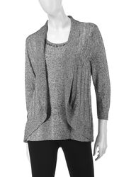 Rebecca Malone Women's Marled Knit Layered-Look Top - Red - Size: XL