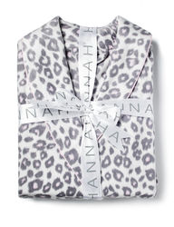 Hannah Women's Leopard Print Fleece Robe - White & Grey - Size: S/M