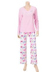 Hannah 2 Piece Women's Misses Reindeer Thermal Set - Pink - Size: Medium