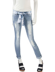 Almost Famous Women's Aztec Scarf Skinny Ankle Jeans - Beige - Size: 1
