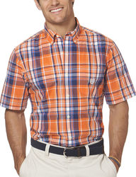 Chaps Men's Short Sleeve Plaid Shirt - Neon Orange - Size: Large