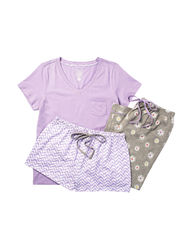 Rene Rofe Women's 3-pc Purple Daisy Pajama Set- Purple/White- Size: Medium