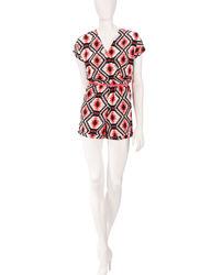 Speechless Women's Neon Aztec Knit Romper - Cream / Black - Size: XS
